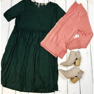 Hunter green baby doll dress